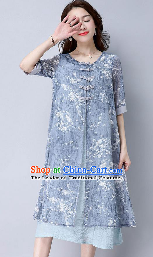 Traditional Ancient Chinese National Costume, Elegant Hanfu Mandarin Qipao Linen Double-deck Blue Dress, China Tang Suit Chirpaur Republic of China Cheongsam Upper Outer Garment Elegant Dress Clothing for Women