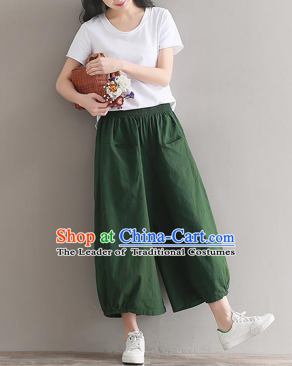 Traditional Chinese National Costume Loose Pants, Elegant Hanfu Linen Green Wide leg Pants, China Ethnic Minorities Tang Suit Ultra-wide-leg Trousers for Women