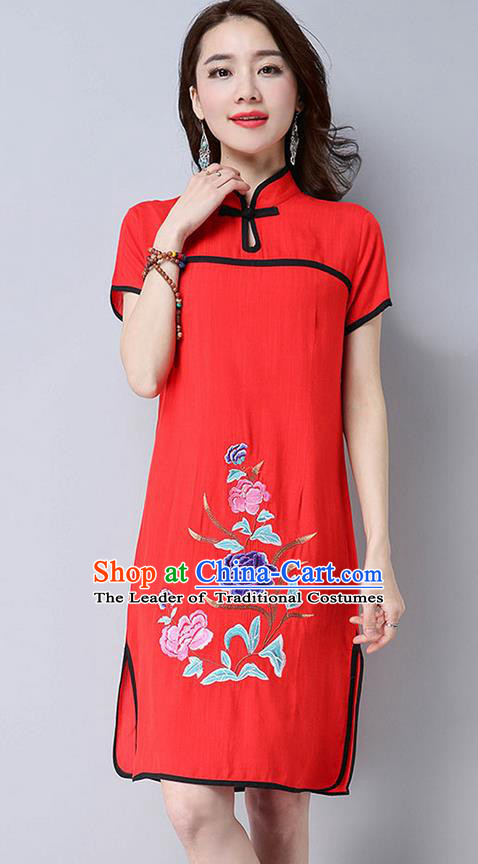 Traditional Ancient Chinese National Costume, Elegant Hanfu Mandarin Qipao Embroider Red Dress, China Tang Suit Chirpaur Republic of China Cheongsam Upper Outer Garment Elegant Dress Clothing for Women