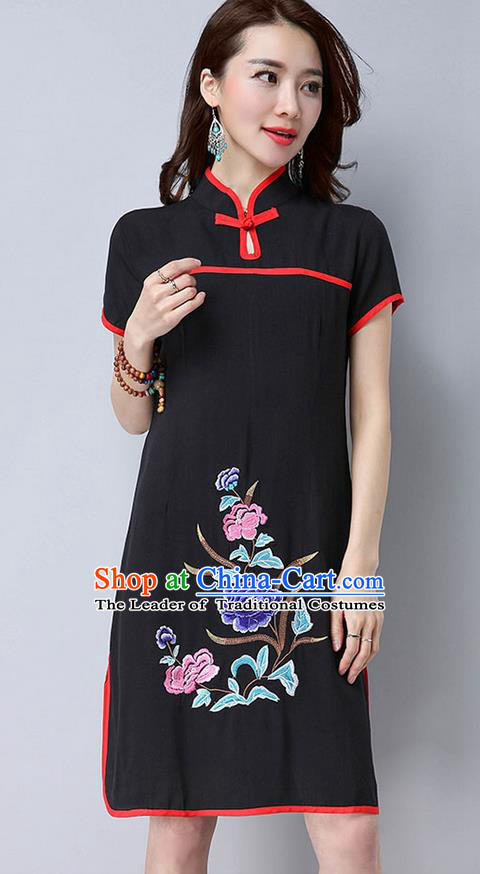 Traditional Ancient Chinese National Costume, Elegant Hanfu Mandarin Qipao Embroider Black Dress, China Tang Suit Chirpaur Republic of China Cheongsam Upper Outer Garment Elegant Dress Clothing for Women