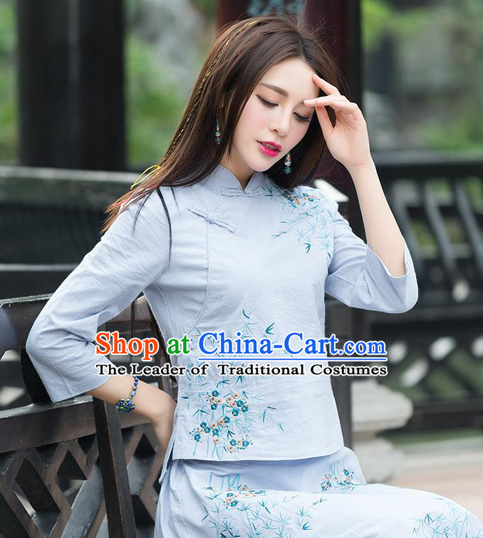 Traditional Chinese National Costume, Elegant Hanfu Embroidery Slant Opening Blue T-Shirt, China Tang Suit Republic of China Chirpaur Blouse Cheong-sam Upper Outer Garment Qipao Shirts Clothing for Women
