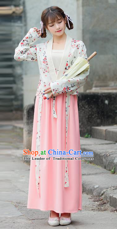 Traditional Ancient Chinese Costume, Elegant Hanfu Clothing Embroidered Slant Opening Sun-top Blouse and Dress, China Tang Dynasty Princess Elegant Blouse and Skirt Complete Set for Women