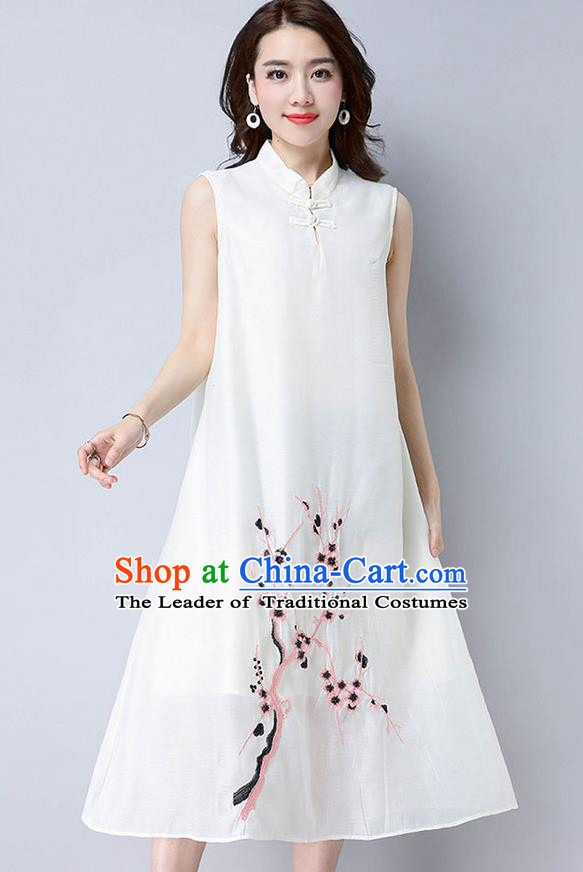Traditional Ancient Chinese National Costume, Elegant Hanfu Mandarin Qipao Linen Embroidery Plum Blossom White Dress, China Tang Suit Chirpaur Republic of China Cheongsam Upper Outer Garment Elegant Dress Clothing for Women