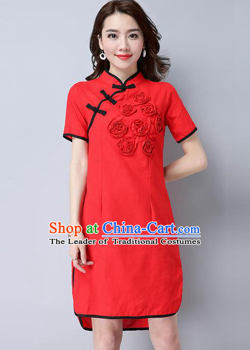 Traditional Ancient Chinese National Costume, Elegant Hanfu Mandarin Qipao Flowers Linen Red Dress, China Tang Suit Chirpaur Republic of China Cheongsam Upper Outer Garment Elegant Dress Clothing for Women