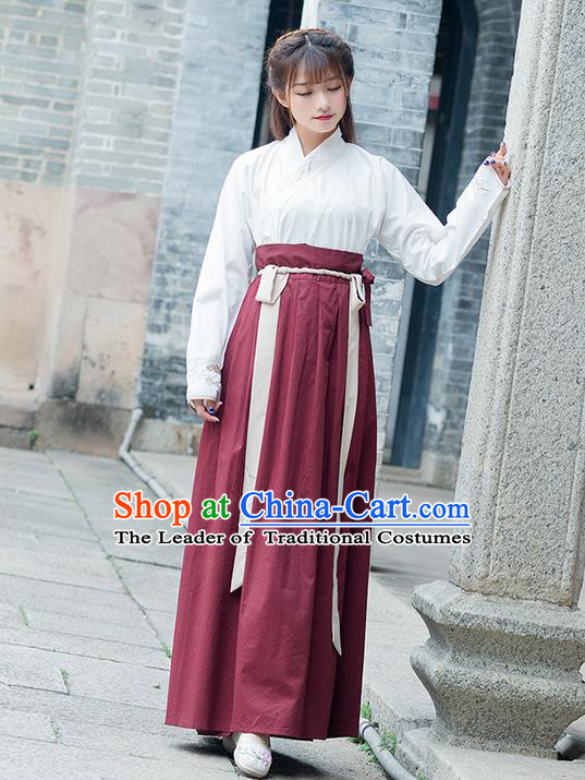 Traditional Ancient Chinese Costume, Elegant Hanfu Clothing Embroidered Slant Opening Blouse and Dress, China Han Dynasty Princess Elegant Blouse and Skirt Complete Set for Women