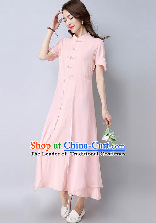 Traditional Ancient Chinese National Costume, Elegant Hanfu Mandarin Qipao Linen Pink Dress, China Tang Suit Chirpaur Republic of China Cheongsam Upper Outer Garment Elegant Dress Clothing for Women