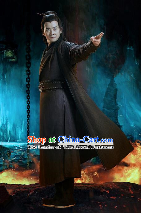 Traditional Ancient Chinese Swordsman Costume, Chinese Jiang hu Taoist Priest Dress, Cosplay Chinese Television Drama Jade Dynasty Qing Yun Faction Michinaga Hanfu Clothing for Men