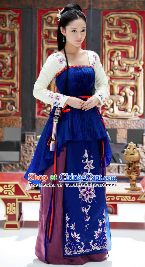 Traditional Ancient Chinese Elegant Aristocratic Female Costume, Chinese Northern Dynasty Palace Young Lady Dress, Cosplay Chinese Television Drama Alegend of Pringess Lanling Princess Peri Hanfu Trailing Embroidery Clothing for Women