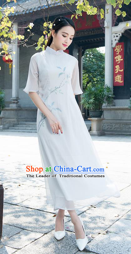 Traditional Ancient Chinese National Costume, Elegant Hanfu Mandarin Qipao Hand Painting Grey Dress, China Tang Suit Chirpaur Elegant Dress Clothing for Women