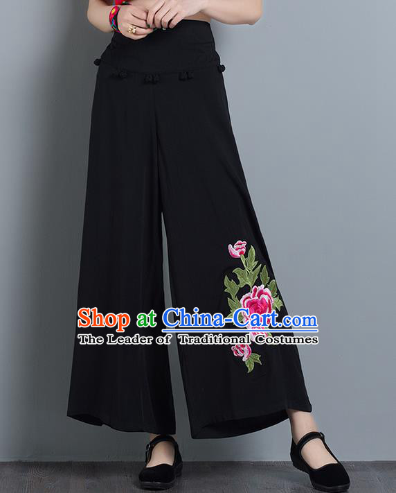 Traditional Chinese National Costume Loose Pants, Elegant Hanfu Embroidered Black Wide leg Pants, China Ethnic Minorities Tang Suit Ultra-wide-leg Trousers for Women