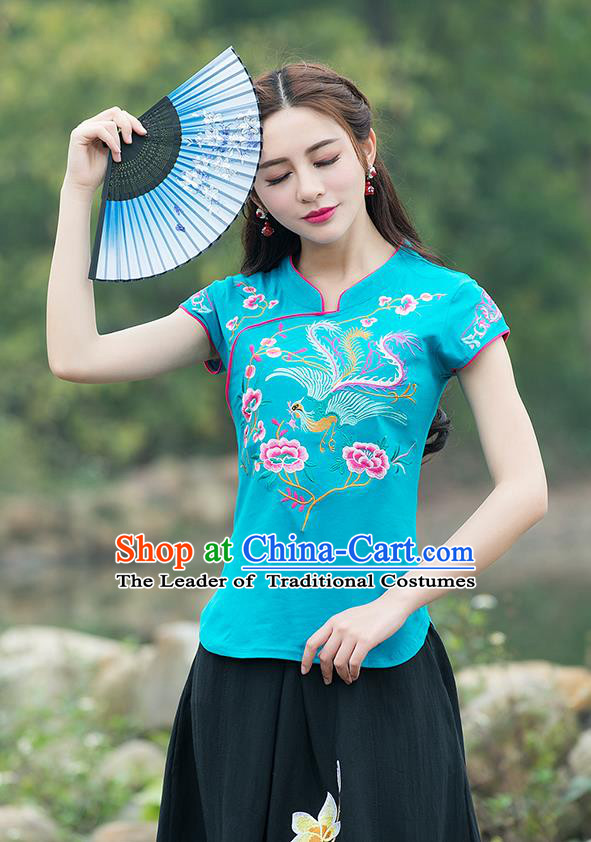 Traditional Chinese National Costume, Elegant Hanfu Embroidery Flowers Stand Collar Blue T-Shirt, China Tang Suit Chirpaur Blouse Cheong-sam Upper Outer Garment Qipao Shirts Clothing for Women