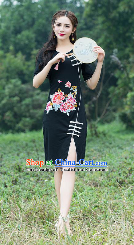 Traditional Ancient Chinese National Costume, Elegant Hanfu Mandarin Qipao Embroidered Black Dress, China Tang Suit Chirpaur Republic of China Cheongsam Elegant Dress Clothing for Women
