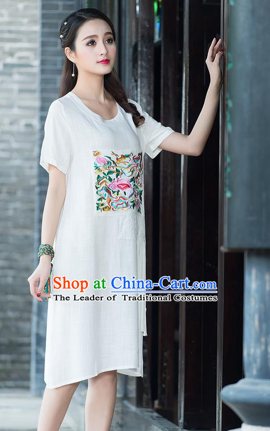Traditional Ancient Chinese National Costume, Elegant Hanfu Mandarin Qipao Embroidered Lace White Dress, China Tang Suit Chirpaur Republic of China Cheongsam Elegant Dress Clothing for Women