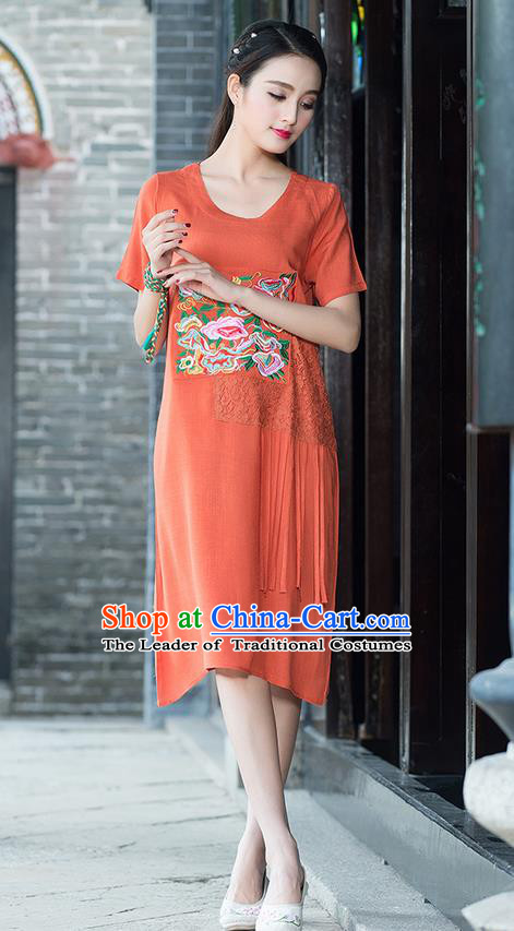 Traditional Ancient Chinese National Costume, Elegant Hanfu Mandarin Qipao Embroidered Lace Orange Dress, China Tang Suit Chirpaur Republic of China Cheongsam Elegant Dress Clothing for Women