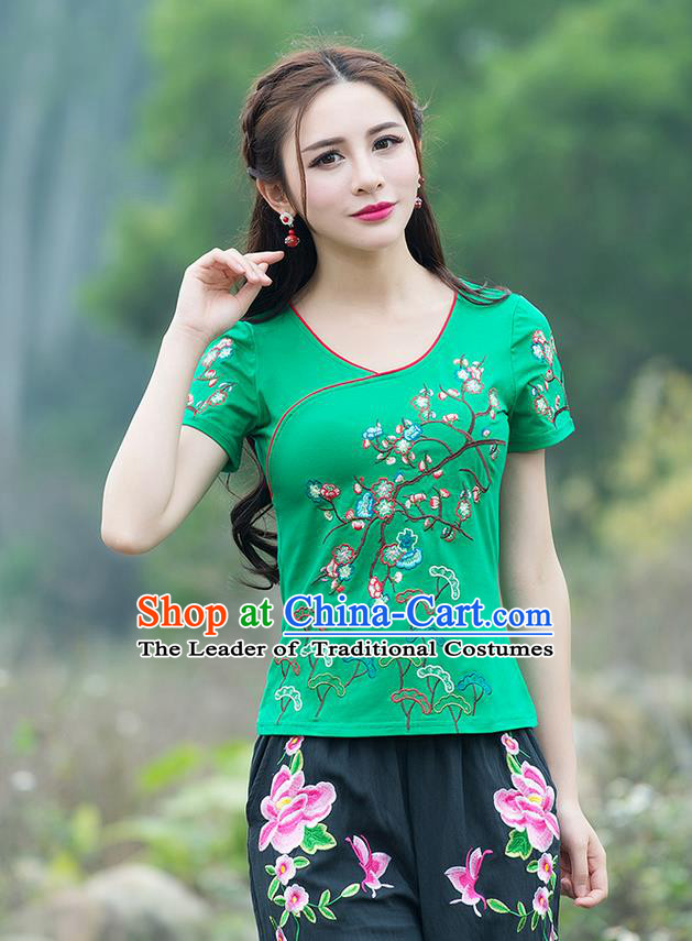 Traditional Chinese National Costume, Elegant Hanfu Embroidery Flowers Green T-Shirt, China Tang Suit Blouse Cheong-sam Upper Outer Garment Qipao Shirts Clothing for Women