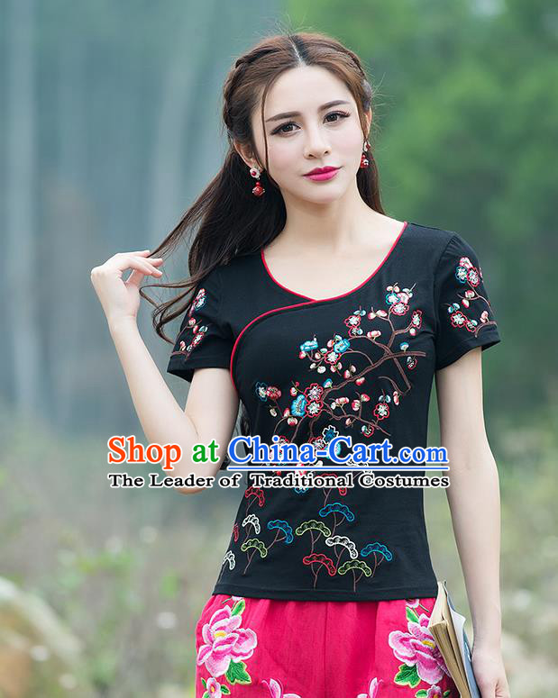 Traditional Chinese National Costume, Elegant Hanfu Embroidery Flowers Black T-Shirt, China Tang Suit Blouse Cheong-sam Upper Outer Garment Qipao Shirts Clothing for Women