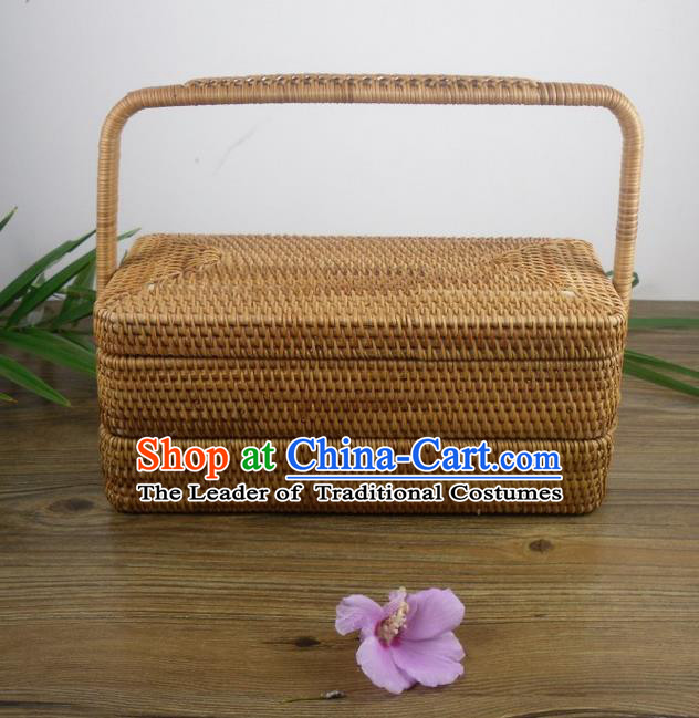 Top Asian Vietnamese Traditional Rattan Plaited Articles Tea Set, Vietnam Handicraft Tea Carrying Case