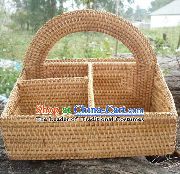 Top Asian Vietnamese Traditional Rattan Plaited Articles Wine Storage Box, Vietnam Handicraft Basket