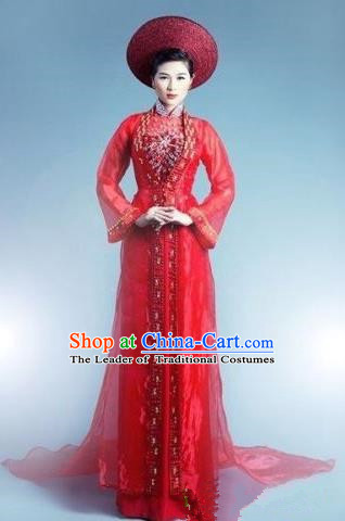 Top Grade Asian Vietnamese Traditional Dress, Vietnam Bride Ao Dai Dress, Vietnam Princess Wedding Red Veil Full Dress Cheongsam Clothing for Women