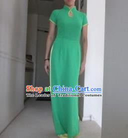 Top Grade Asian Vietnamese Traditional Dress, Vietnam National Ao Dai Dress, Vietnam Princess Green Dress and Loose Pants Complete Set Cheongsam Clothing for Women