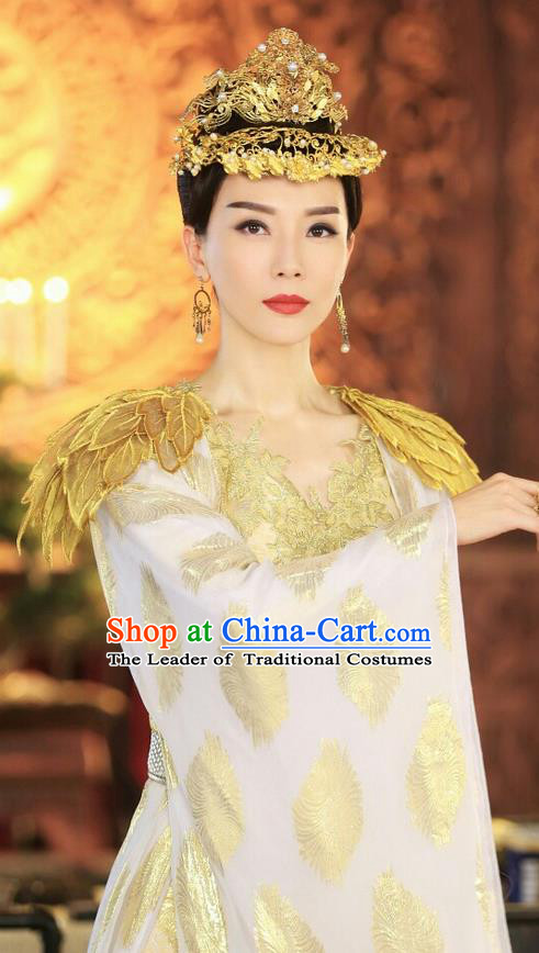 Chinese Ancient Tang Dynasty Imperial Empress Costume and Headwear Complete Set, Fighter of the Destiny Traditional Chinese Ancient Queen Clothing for Women