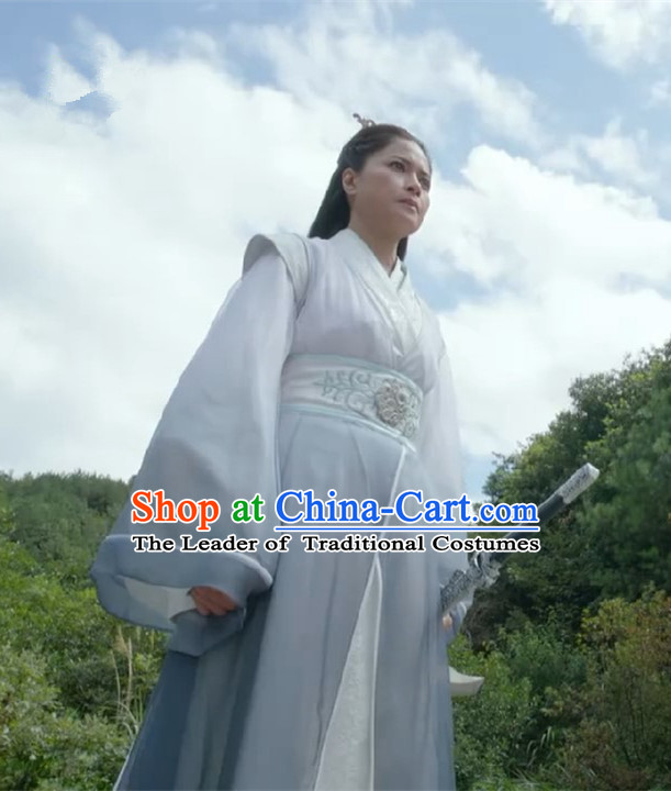 Chinese Ancient Tang Dynasty Female Taoist Nun Swordswoman Costume and Headwear Complete Set, Fighter of the Destiny Traditional Chinese Ancient Heroine Clothing for Women