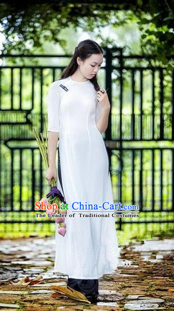 Top Grade Asian Vietnamese Traditional Dress, Vietnam National Princess Ao Dai Dress, Vietnam White Ao Dai Cheongsam Dress Clothing for Woman