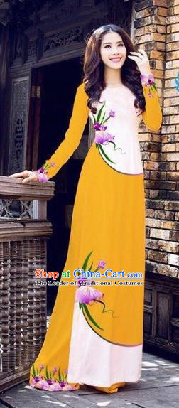 Traditional Top Grade Asian Vietnamese Costumes Handmade Dance Dress, Vietnam National Female Printing Flowers Orange Ao Dai Dress Cheongsam Clothing for Women