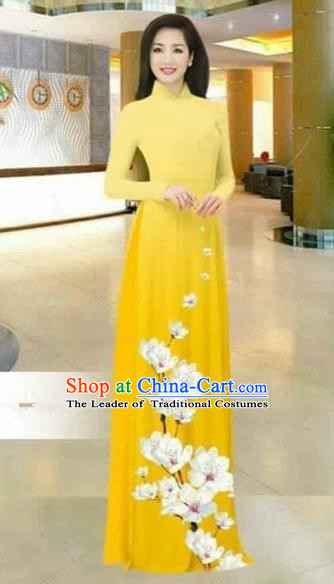 Traditional Top Grade Asian Vietnamese Costumes Dance Dress, Vietnam National Female Printing Flowers Bright Yellow Ao Dai Dress Stand Collar Cheongsam Clothing for Women