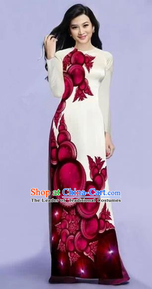 Traditional Top Grade Asian Vietnamese Costumes Dance Dress, Vietnam National Female Wine Red Printing Ao Dai Dress Cheongsam Clothing for Women