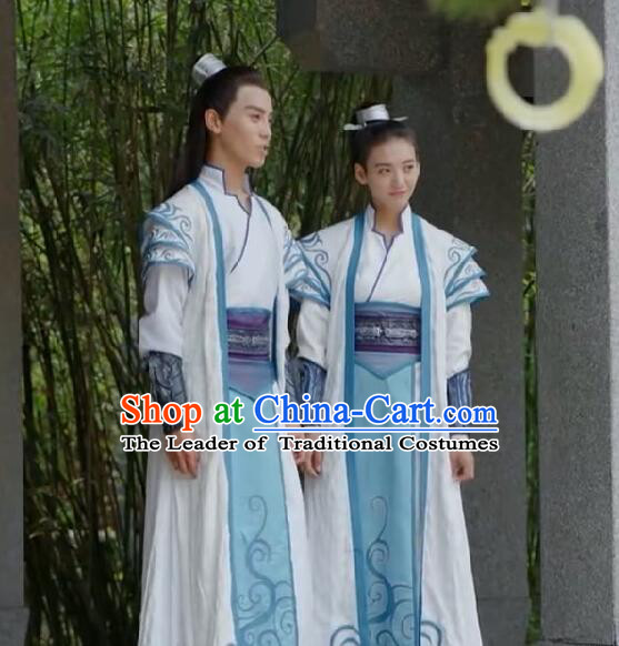 Traditional Chinese Ancient Tang Dynasty Taoist Priest Costumes and Headpiece Complete Set, Fighter of the Destiny Ancient Swordsman Clothing for Men for Women