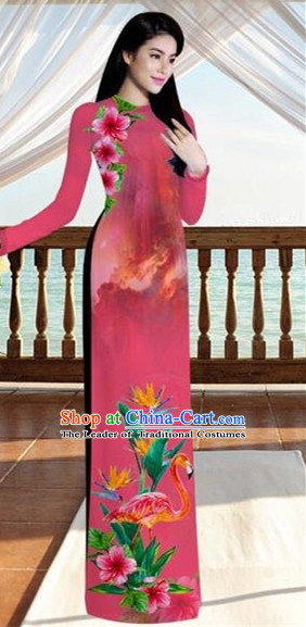 Traditional Top Grade Asian Vietnamese Costumes, Vietnam National Ao Dai Dress Printing Flowers Crane Light Red Qipao for Women