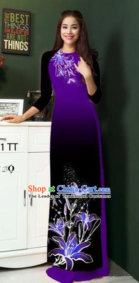 Traditional Top Grade Asian Vietnamese Costumes Classical Printing Greenish Lily Flowers Full Dress, Vietnam National Ao Dai Dress Purple Etiquette Qipao for Women