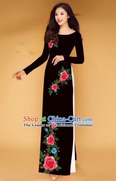 Traditional Top Grade Asian Vietnamese Costumes Classical Printing Rose Flowers Full Dress, Vietnam National Ao Dai Dress Black Etiquette Qipao for Women