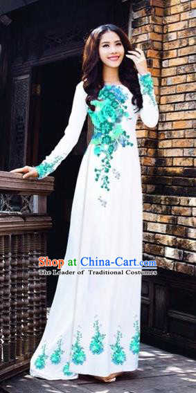 Traditional Top Grade Asian Vietnamese Costumes Dance Dress, Vietnam National Women Ao Dai Dress Printing Blue Flowers Cheongsam Clothing