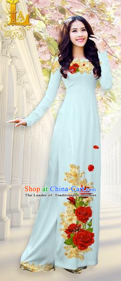 Traditional Top Grade Asian Vietnamese Costumes, Vietnam National Ao Dai Dress Printing Flowers Light Blue Qipao for Women
