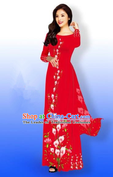 Traditional Top Grade Asian Vietnamese Costumes Full Dress, Vietnam National Ao Dai Dress Printing Red Qipao for Women