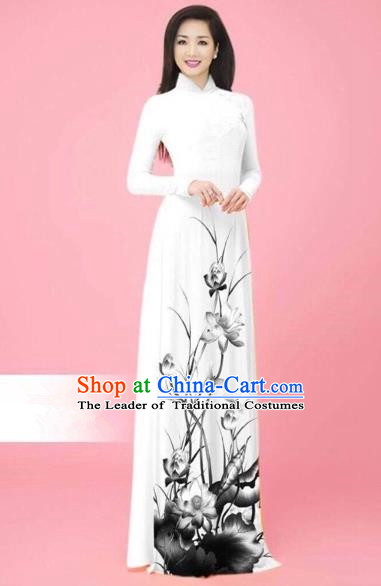 Traditional Top Grade Asian Vietnamese Costumes Classical Ink Painting Full Dress, Vietnam National Ao Dai Dress Catwalks White Qipao for Women