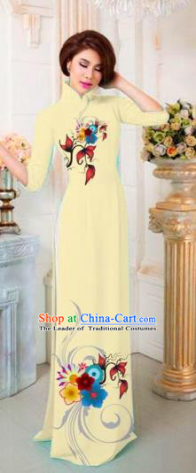 Traditional Top Grade Asian Vietnamese Costumes Classical Printing Flowers Full Dress, Vietnam National Ao Dai Dress Catwalks Princess Light Yellow Qipao for Women