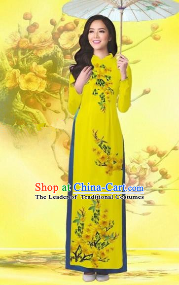 Traditional Top Grade Asian Vietnamese Costumes Classical Printing Flowers Wedding Yellow Full Dress, Vietnam National Ao Dai Dress Catwalks Bride Qipao for Women