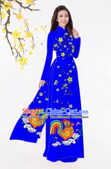 Traditional Top Grade Asian Vietnamese Costumes Classical Printing Royalblue Full Dress, Vietnam National Ao Dai Dress Catwalks Debutante Qipao for Women
