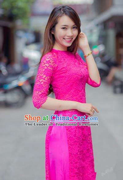 Traditional Top Grade Asian Vietnamese Costumes Classical Lace Full Dress and Loose Pants, Vietnam National Ao Dai Dress Rosy Qipao for Women