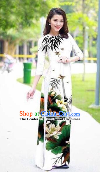 Traditional Top Grade Asian Vietnamese Costumes Classical Ink Painting Flowers Full Dress, Vietnam National Ao Dai Dress Catwalks White Qipao for Women