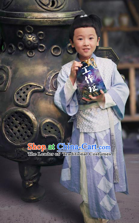 Chinese Ancient Tang Dynasty Livehand Costume and Headwear, Fighter of the Destiny Chinese Ancient Children Scholar Clothing for Kids