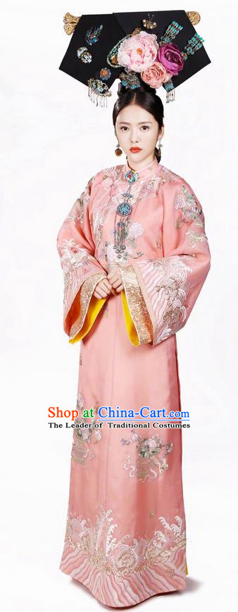 Traditional Chinese Ancient Qing Dynasty Imperial Consort Costume and Headwear Complete Set, Above The Clouds Chinese Mandarin Robes Imperial Concubine Embroidered Clothing for Women