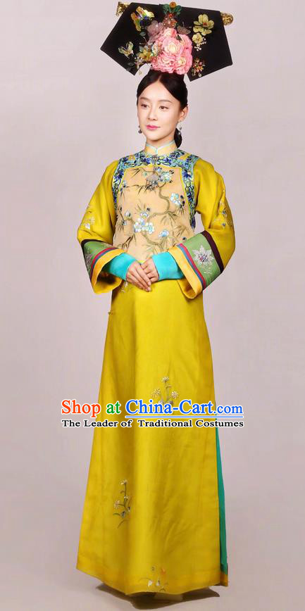 Traditional Chinese Ancient Qing Dynasty Imperial Empress Costume and Headwear Complete Set, Above The Clouds Chinese Mandarin Robes Senior Concubine Embroidered Clothing for Women