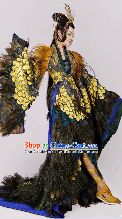 Traditional Chinese Ancient Su Daji Palace Dance Costume and Handmade Headpiece Complete Set, Above The Clouds China Royal Lady Peacock Feathers Dance Clothing for Women