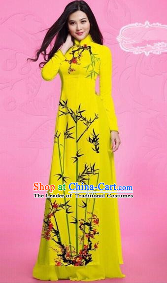 Traditional Top Grade Asian Vietnamese Costumes Classical Printing Bamboo Full Dress, Vietnam National Ao Dai Dress Catwalks Debutante Yellow Qipao for Women
