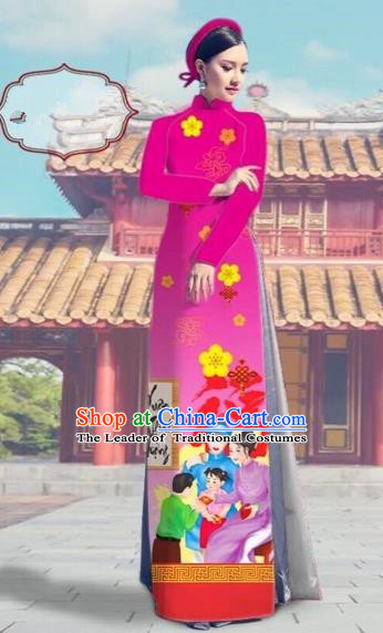 Traditional Top Grade Asian Vietnamese Costumes Classical Printing Pink Full Dress, Vietnam National Ao Dai Dress Catwalks Debutante Happy New Year Qipao for Women