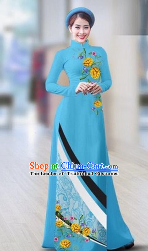 Traditional Top Grade Asian Vietnamese Costumes Classical Printing Full Dress Dance Cothing, Vietnam National Ao Dai Dress Catwalks Debutante Light Blue Qipao for Women